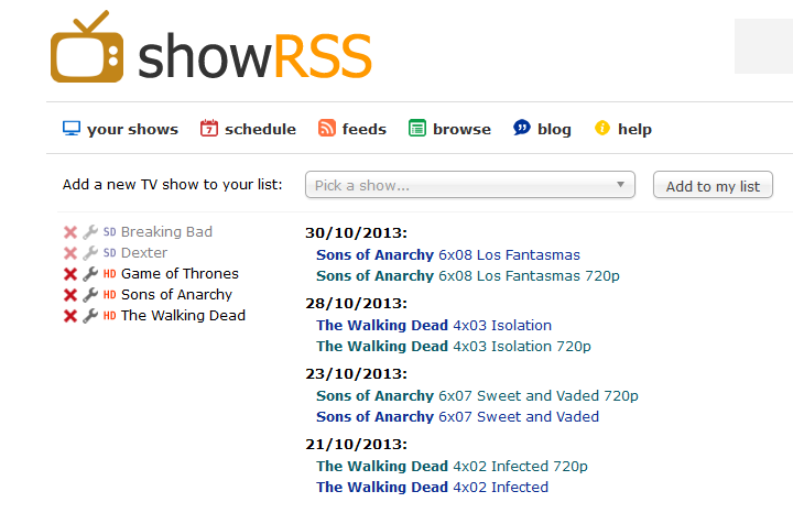Automatically download series with RSS (ShowRSS) and